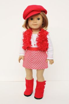 Shes ready for a party in this festive and fun outfit! The knit top and striped skirt look great with or without the vest. Check out those cool boots. The buttons down the side really jazz them up. And what about that sassy hat? Whatever she has planned, this outfit will make the