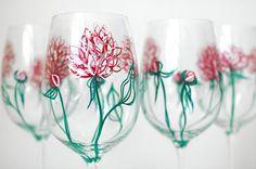 Pink Peonies Wine Glasses  Hand Painted Wine by MaryElizabethArts, $60.00