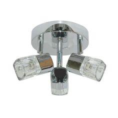 Searchlight 9883CC Blocs Chrome 3 Light Ceiling Spotlight With Ice Cube Glass from Dushka Ltd, London, UK.