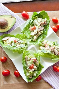 These are perfect for lunch or dinner. Turkey Cobb Salad Lettuce Wraps - Low Calorie, Low Fat Healthy Recipe _____________ We love food. Leftovers Recipes, Turkey Recipes, Lunch Recipes, Cooking Recipes, Drink Recipes, Sandwich Recipes, Salad Recipes, Good Healthy Recipes, Healthy Snacks