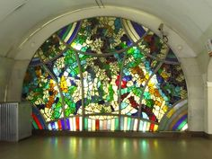 Stunning glass mosaic at Tsvetnoy Boulevard Station in Moscow - on my wish list!