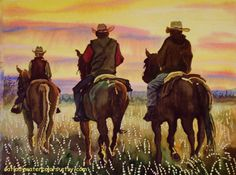 Cowboy Watercolor Print. Cowboy Painting. Watercolor horses. Country decor. Horse picture. Horse wall art. Watercolor sunset. Cowboy decor. (16.00 USD) by CatladyWatercolors
