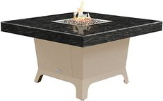 Amazon.com: COOKE Parkway Square fire Pit Table - 48 x 48 - Dining Height - Propane - Black Pearl Granite Top - Beige Powdercoat Base: Kitchen  Dining Outdoor Heaters, Patio Heater, Square Fire Pit, Granite Tops, Fire Pit Table, Kitchen Dining, Pearl, Base, Amazon