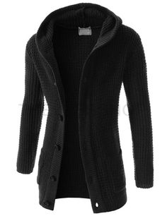 (FFC26-BLACK) Mens Casual Slim Fit Knitted 6 Button 2 Pocket Long Sleeve Hood Cardigan