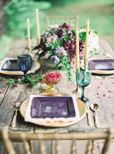 Jewel toned tablescape | Julie Paisley Photography and Cedarwood Weddings | see more on: http://burnettsboards.com/2015/11/rustic-jewel-toned-wedding/