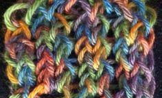 Loom knitting Tire Tracks stitch by Theresa Higby.