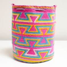 Authentic Wayuu Mochila Cotton Candy Pink by ColombianMadeShop