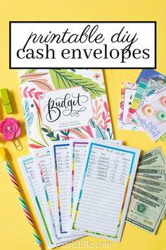 Printable DIY Cash Envelope System – Finance tips, saving money, budgeting planner Cash Envelope Pattern, Diy Envelope, Budget Envelopes, Money Envelopes, Budgeting System, Budgeting Money, Date, Money Envelope System, Budget Planner