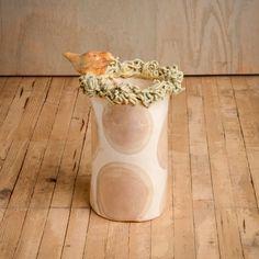 Erich Emmenegger Pottery White with Khaki Dots Medium Bird Nest Vase