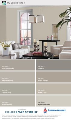 Mega Greige & Anew Gray - Sherwin Williams. ( warm grays ). My choice for gray color scheme.