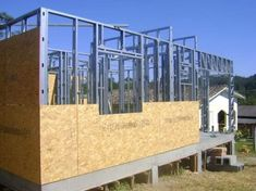Architecture – Enjoy the Great Outdoors! Steel Frame House, A Frame House, Steel House, Container House Design, Tiny House Design, Steel Building Homes, Building A House, Casas Trailer, Casas Containers