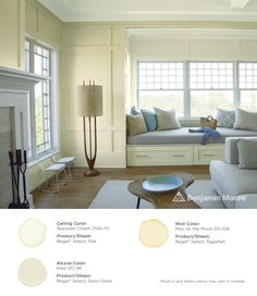 A serene living room. Walls: Man on the Moon OC-106 with Regal Select, Eggshell finish; Ceiling: Bavarian Cream 2146-70 with Regal Select, Flat finish; Alcove: Halo OC-46 with Regal Select, Semi-Gloss finish