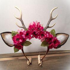 Deer Antler Headband Flower Crown boho cosplay by WooDnHooks
