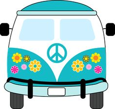 Dibujos. Clipart. Digi stamps - Hippie Van - Blue Car