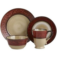 Red Scroll Dinnerware from Pier 1 $6 per piece