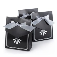 Silver Art Deco Tent Favor Box with Ribbon