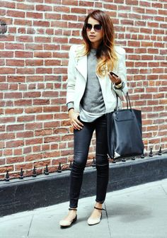 what-do-i-wear:    Leather Jacket: Zara (similar here ) |  Sweater: Lovers & Friends  |  Skinny jeans: Gap  |  Flats: Zara  | Bag: Alexander Wang  |  Shades: Marc by Marc Jacobs  |  Watch: gifted Diesel | Triangle necklace: gifted Albeit Jewelry (image: sincerelyjules)