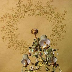 Wall mural stencils at great prices! Large collection of fresco mural stencils. Create a mural using our elegant stencil kits. Mural stencils, fresco stencils, floral stencils, bird stencils, tree stencils and more! Ceiling Murals, Ceiling Decor, Wall Murals, Wall Decor, Bedroom Ceiling, Tv Decor, Decor Ideas, Ceiling Design, Bedroom Decor