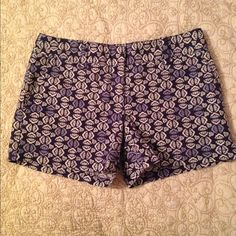 """Ann Taylor Loft Shorts Adorable shorts. Dark blue with light blue and white design. 97% cotton. 3% spandex. Machine wash cold. Great condition. Inseam measures 4"""" LOFT Shorts"""