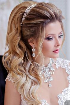 Trendy Swept-Back Wedding Hairstyles ❤ See more: www. Trendy Swept-Back Wedding Hairstyles ❤ See more: www.weddingforwar… Trendy Swept-Back Wedding Hairstyles ❤ See more: www. Wedding Hairstyles Half Up Half Down, Half Up Half Down Hair, Wedding Hairstyles For Long Hair, Wedding Hair And Makeup, Bride Hairstyles, Wedding Hair Accessories, Hairstyles With Bangs, Trendy Hairstyles, Bridal Makeup