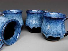 Blue Black Mug Ceramic Coffee Mug by darshanpottery on Etsy, $20.00