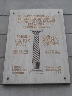 Gedenktafelsicardsburgvandernuell - Eduard van der Nüll – Wikipedia Van, Books, Opera, Libros, Book, Vans, Book Illustrations, Libri, Vans Outfit