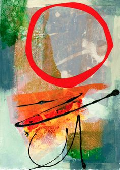 "Red Circle #1, 5""x7"" Jane Davies"