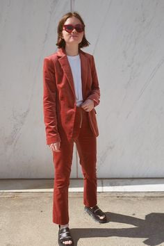 The season of the coordinating suit is still upon us. Double up on the corduroy with a matching jacket. On Reese Blutstein: Frame Classic Cotton-Blend Velvet Blazer ($575)...
