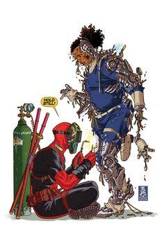 Deadpool cover art by Mark Brooks (w/ Agent Preston-bot) Marvel Comic Universe, Comics Universe, Marvel Art, Bd Comics, Marvel Comics, Deadpool Comics, Deadpool Pictures, Deadpool Wallpaper, Welding Art