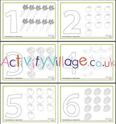 Count and colour the correct number of fruits and vegetables and then make a number shape out of playdough. Or ask the kids to put a blob of playdough on top of, or model, the correct number of fruit and veg. Fruit And Veg, Fruits And Vegetables, Activities For Kids, Crafts For Kids, Math Resources, Colouring Pages, Counting, Harvest, Number