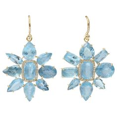 IRENE NEUWIRTH JEWELRY Limited Edition Aquamarine Earrings (144.640 ARS) ❤ liked on Polyvore featuring jewelry, earrings, 18k gold jewelry, 18k gold earrings, diamond earrings, pave diamond earrings and aquamarine jewelry