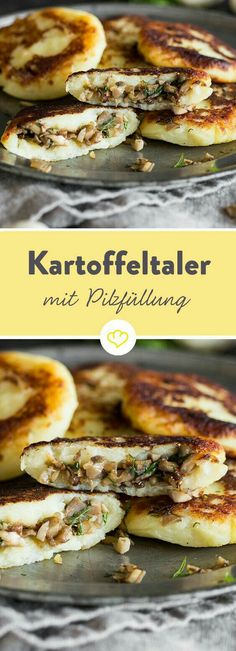 Gefüllte Kartoffelpüree-Taler mit Pilzen The golden brown-fried valleys taste great of potato and hide inside a spicy filling of mushroom and onion. Grilling Recipes, Lunch Recipes, Vegetarian Recipes, Cooking Recipes, Healthy Recipes, Pasta Recipes, Healthy Eating Tips, Healthy Snacks, Vegetable Drinks