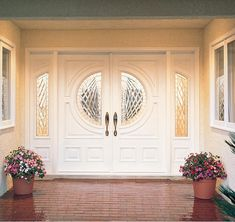 LOVE these doors!!  White on the inside, mahogany outside.  No sidelights as we are having the arch over the top...Aurora Glass Panel Double Fiberglass Doors Sidelights Decorative Glass