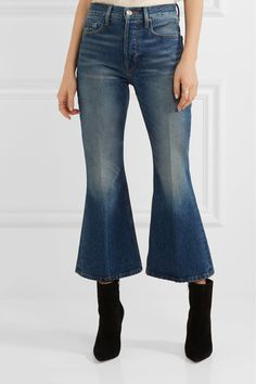 FRAME - Rigid Re-release Le Cropped High-rise Slim-leg Jeans - Mid denim - 30