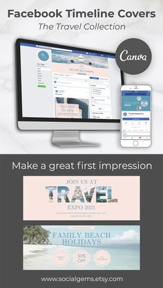 Showcase your brand, products and services with these professionally designed Facebook cover templates. This easy to use branding kit contains 4 travel themed timeline covers that are ideal for travel bloggers, travel agents, small business owners, entrepreneurs, content creators, marketing and social media managers #FacebookTimeline #CoverTemplate, #FacebookCoverPhoto, #SocialMediaBanner, #BrandKit, #CanvaTemplates Facebook Cover Photo Template, Facebook Cover Design, Facebook Timeline Covers, Social Media Banner, Social Media Template, Free To Use Images, Group Boards, Branding Kit, Instagram Story Template