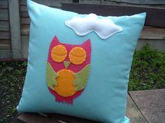 Fabric Cushion/Pillow Sleepy Owl  Blue cotton by KoalitaCraft, £16.00