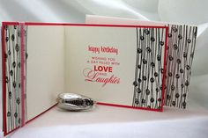 Birthday Cake Sprinkles - Card interior & envelope (on right) - Artemio flower stamp heat embossed & PB sentiment Melon Mombo ink. SU Melon Mambo & Whisper White paper