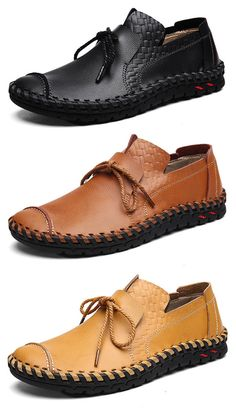 US39.98( 48% OFF)#Men's Stitching Soft Sole Lace Up Decoration Casual Driving Loafers
