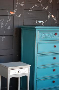 ~Teal/turquoise and Red dresser.love it on the grey wall Turquoise Dresser, Blue Dresser, House Of Turquoise, Blue Drawers, Home Living, My Living Room, Apartment Living, Furniture Makeover, Diy Furniture