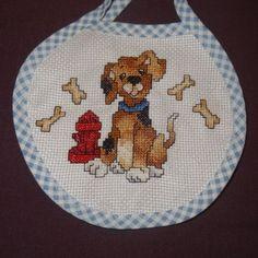 New-Baby-Bib-Puppy-Dog-Bones-girl-boy-unisex-Handmade-Finished-Cross-Stitch