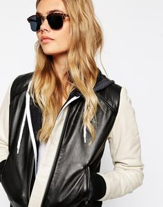 Shop ASOS Classic Retro Sunglasses at ASOS. Stylish Sunglasses, Retro Sunglasses, Fashion Online, Asos, Hair Makeup, Leather Jacket, Long Hair Styles, Classic, Jackets