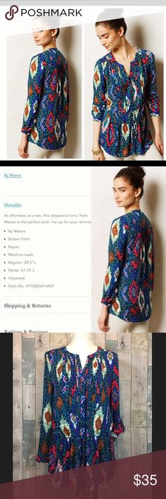 Anthropologie Topoxte Dropwaist Tunic NWOT Beautiful and vibrant this dropwaist blouse is the perfect addition to your wardrobe. Throw it on with your favorite pair of jeans for an effortless look. ❤️see details in 2nd pic. NWOT never worn Anthropologie Tops Tunics