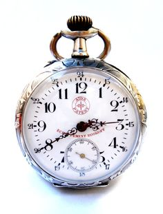Antique Pocket Watch Swiss ROSKOPF Open Face Case Silver Art Deco Measure Working (watch with over 111 years old) Old Pocket Watches, Pocket Watch Antique, Antique Watches, Vintage Watches, Rolex, Telling Time, Luxury Watches For Men, Cool Watches, Fashion Watches