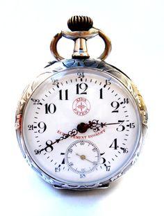 Antiguo Reloj Bolsillo Suizo ROSKOPF Open Face por shopvintage1