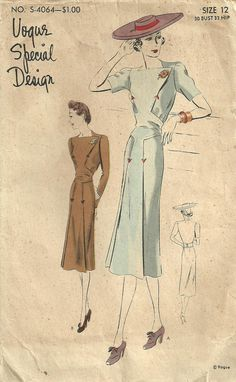 Vogue 4064 Vintage 30s Sewing Pattern Special by studioGpatterns, $38.50