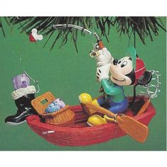 Mickey & Co. Mickey Goin Fishin Enesco Treasury of Christmas Ornaments || Available for sale via the pin's link.