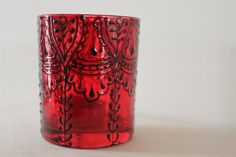 Red Tealight Candle Holder Handpainted Glass Moroccan by ZoeFred, £10.00