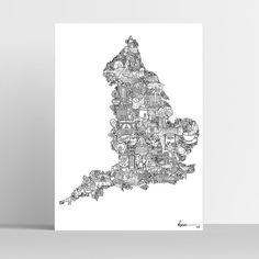 England Map Illustration Art Print english poster England | Etsy Art And Illustration, English Gifts, Scotland Map, England Map, Double Decker Bus, Signature Style, Little Gifts, Ink, Fine Art