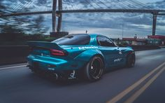 Download imagens Foguete Coelho, ajuste, Mazda RX-7, movimento, azul RX-7, supercarros, Mazda