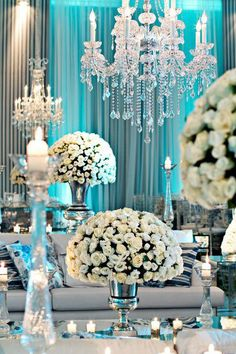 Perfect party/ all white with Tiffany blue lighting